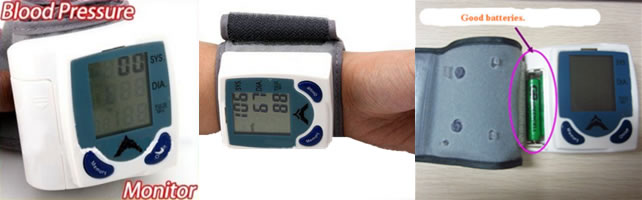 Portable Home Digital Wrist Blood Pressure Monitor, Heart Beat Meter, Sphygmomanometer with LCD Display